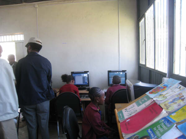 Kids working in the new computer lab